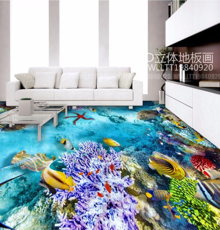 O Envio gratuito de fundo do mar algas peixes Tropicais 3D pisos engrossado revestimento à prova d' água do banheiro sala de estar papel de parede mural(China (Mainland))