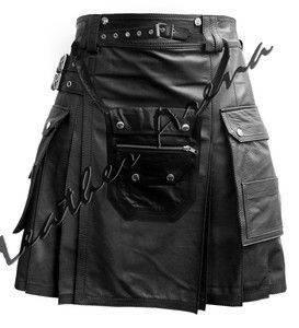 kilts for men | ... Double Box Pleated Leather Kilt for Men with Leather Sporran | eBay