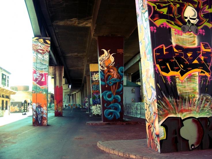 Graffiti in Johannesburg - under the M2 bridge in the CBD.