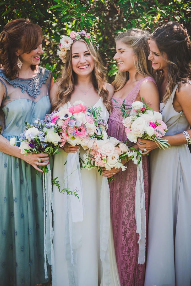 639 best bejewelled bridesmaids images on pinterest marriage a assortment of mismatched vintage bridesmaid gowns ombrellifo Gallery