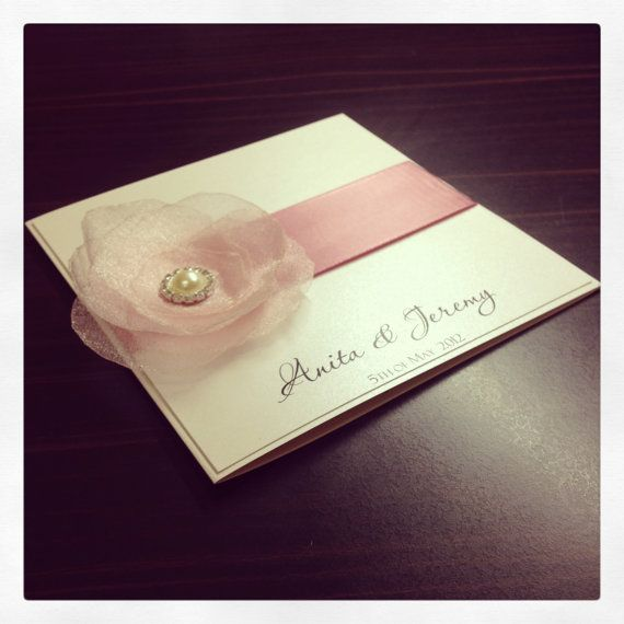 Pink floral wedding invitation & RSVP - with pearl and diamante cluster