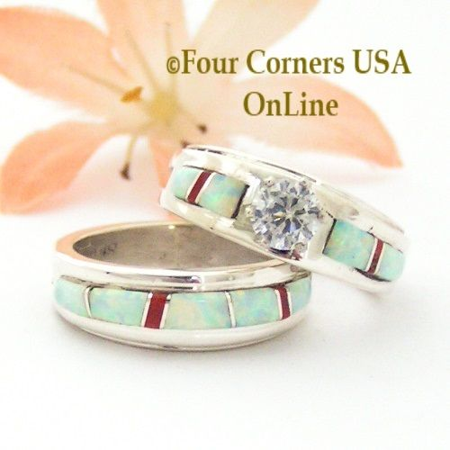 Size 5 1 2 White Fire Opal And Coral Engagement Bridal Wedding Ring Set Navajo Wilbert Muskett Jr WS 1589 Closeout Final