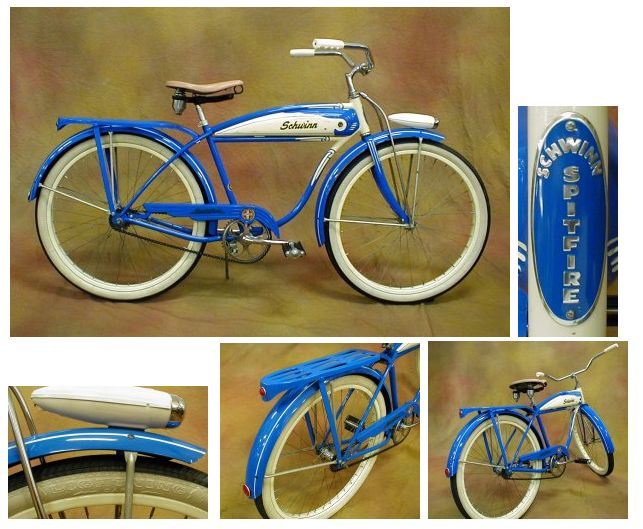 1955 Schwinn Spitfire    This Schwinn Spitfire has the most vibrant blue color! It was produced in early November of 1955 and sports some cool features including the horn tank, rear rack, truss rods and headlight. A pristine example of a '50's ballooner.