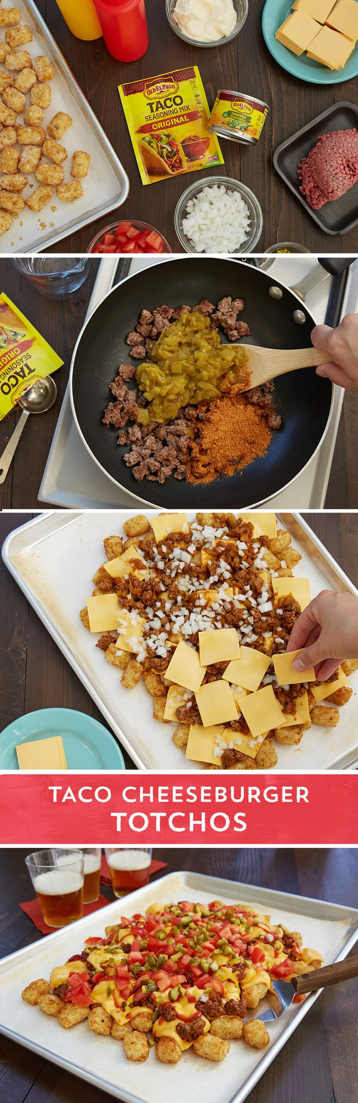 This mashup of cheeseburgers and nachos is an over-the-top, deliciously easy crowd-pleaser you'll make again and again. Bake the tots like always, but take it up a notch when you top them with ground beef cooked with Old El Paso™ taco seasoning and Old El Paso™ chopped green chiles. American cheese melted on top and sprinkled with traditional hamburger toppings like tomato, onion, pickles, ketchup, and mustard will have you thinking of your favorite childhood kid's meal. Taco Cheeseburger…