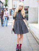 Blonde Harajuku Girl w/ Fangs, Striped Fashion & Justin Davis Accessories