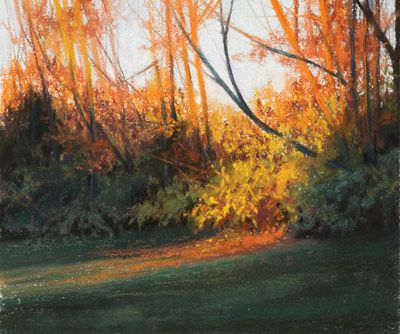 Stacie Seuberling's pastel landscapes are featured in The Artist's Magazine, including the following free demonstration of 'Autumn Surprise'.