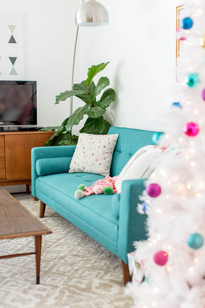 Obsessed With This Teal Tweed Sofa How To Decorate Your Living Room For Christmas