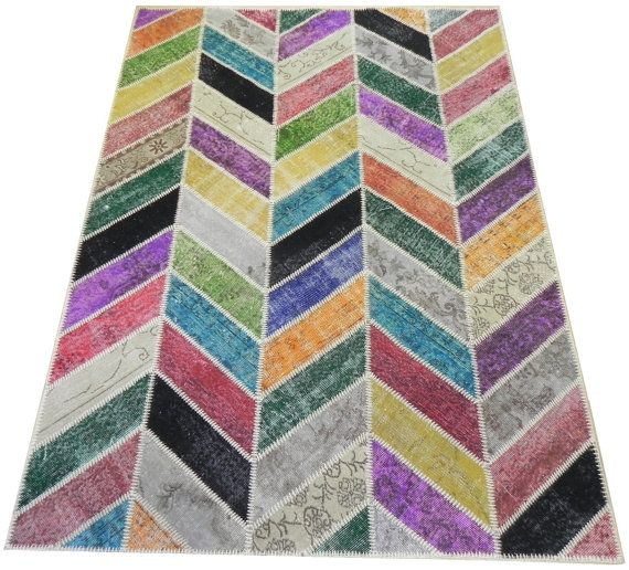 6x8 Ft (183x245 cm) Zig Zag Design Multicolor PATCHWORK Rug Handmade from OVERDYED Vintage Turkish Carpets, CUSTOM Sizes and Colors