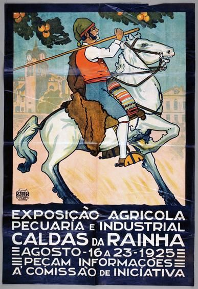 """Cartaz """"Exposição Agricola Pecuaria e Industrial Caldas da Rainha"""", 1925."""