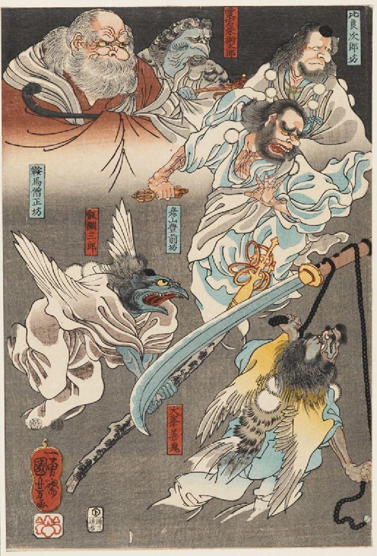 Minamoto Yoshitsune fights Benkei on Gojo bridge, with the help of Tengu demons (part of the triptych), ca. 1847-1850 by Utagawa Kuniyoshi