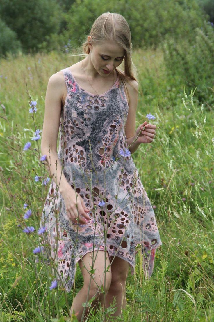 Купить Ева - платье, повседневное платье, валяное платье, Коктейльное платье, фелтинг, дизайнерское платье