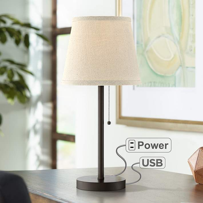Flesner Bronze 20 High Accent Table Lamp With Usb Port 38h94 Lamps Plus Table Lamp Contemporary Table Lamps Modern Desk