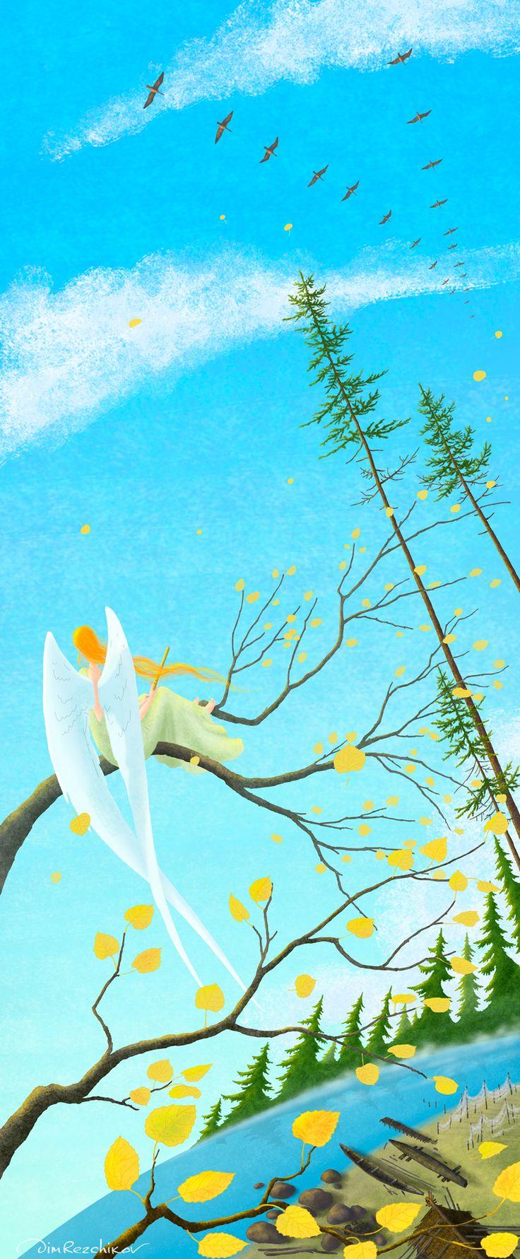 Autumn sky  Небо осени  art • russian • illustration • calendar • drawing • artist • illustrator • fantasy