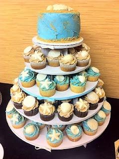 beach cupcake cake
