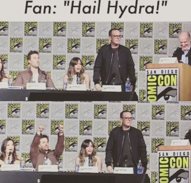 "Agents of Shield Comic Con 2015. Ward is like ""Whoo!"" And Colson is like, ""What did you just say!?"""