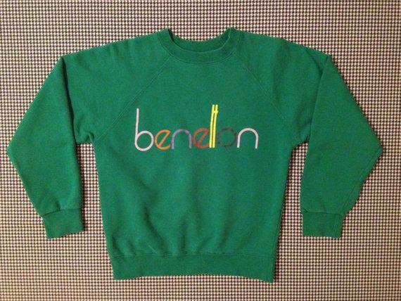 Rare!! Vintage 90's BENETTON World United Colour of Benetton Men Clothing Sweatshirt PullOver Light Blue Colour Large Size 3Yks3bjx