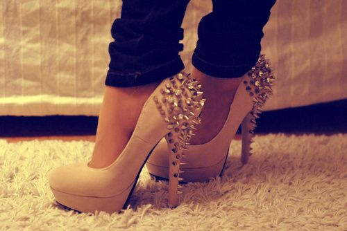 #heels #spikes #fashion: Shoes, Fashion, Style, Studs Heels, Clothing, Nude Heels, Pumps, Spikes Heels, High Heels
