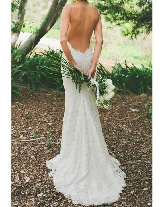 Sexy bohemain strand trouwjurk van kant met sexy open rug