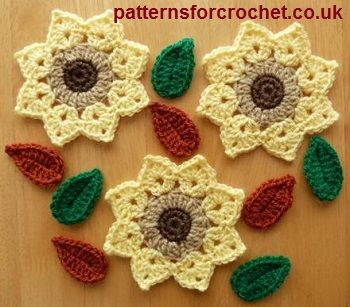 Free crochet pattern for flower and leaves motif http://www.patternsforcrochet.co.uk/flower-motif-usa.html #patternsforcrochet