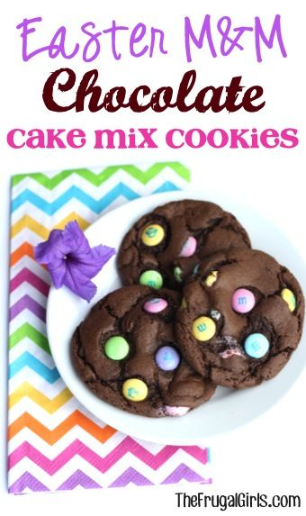 Easter M&M Chocolate Cake Mix Cookies Recipe! ~ from TheFrugalGirls.com ~ these 4 ingredient cookies couldn't be easier and they're SO yummy! #cookie #recipes #thefrugalgirls