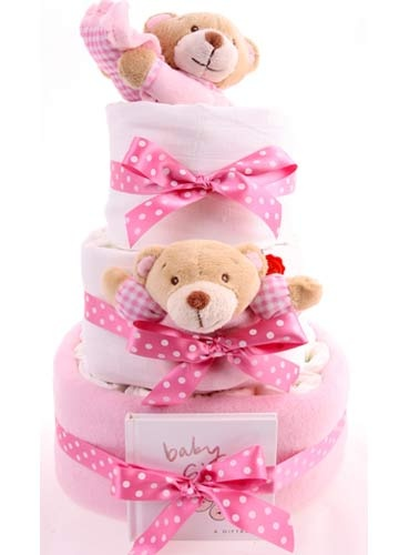 3 Tier Bed Time Bear Girl Nappy Cake