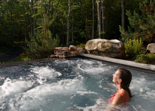 Hot tub in the woods at woodloch resort hawley pa for A romantic weekend getaway
