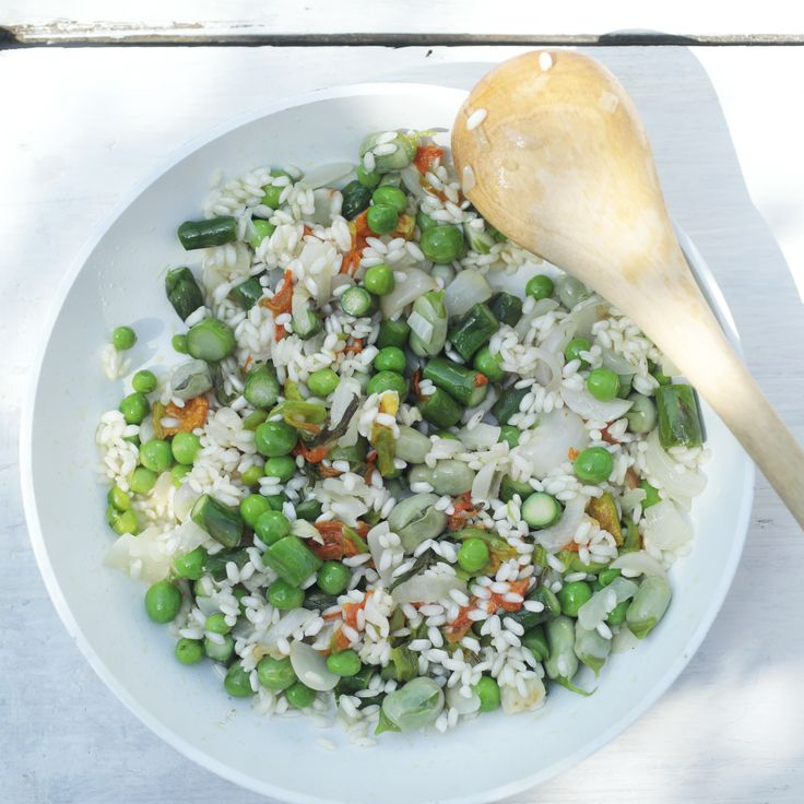 Risotto con asparagi e piselli  #rice #asparagus #peas