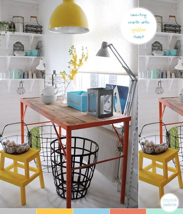swell mix of vintage table, modern stool, industrial baskets and lots of color