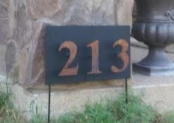 Custom metal sign with Numbers floating by CUTTINGEDGECRAFTSMEN