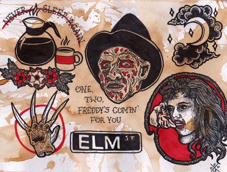 A Nightmare on Elm Street flash sheet print by DeadEndDesign, $12.50