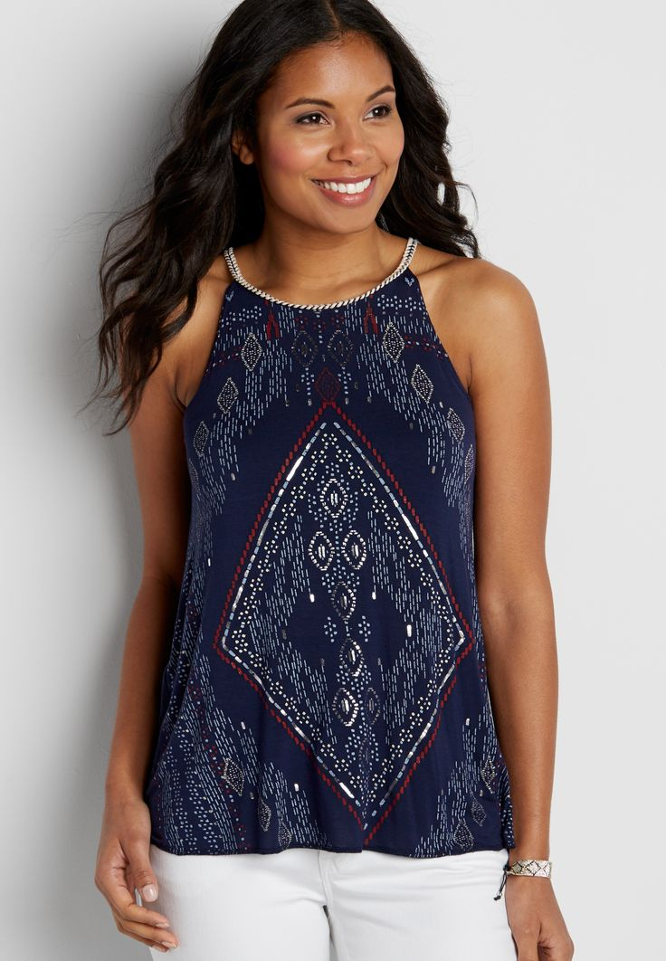 patterned tank with high whip stitched neckline (original price, $26.00) available at #Maurices