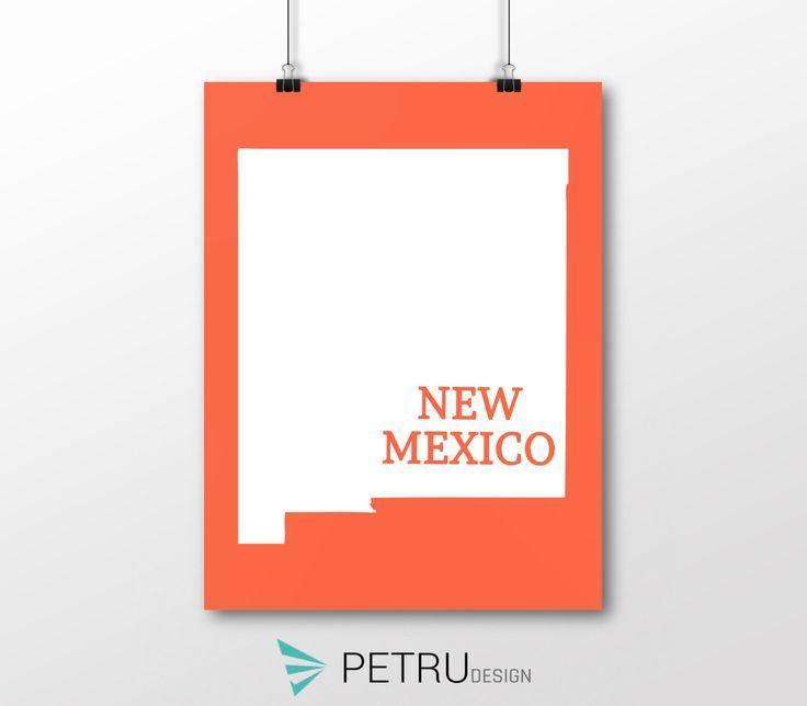 New Mexico print - New Mexico art - New Mexico poster - New Mexico wall art - New Mexico printable poster - New Mexico map - New Mexico by Exit8Creatives on Etsy