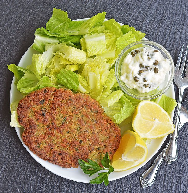 Crispy Chickpea Cutlets with Lemon Caper Sauce are a vegan alternative. The tender interior, much like falafel, is a nice contrast to the crisp exterior.