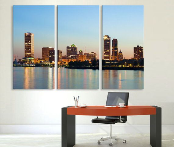 3 Panel Split (Triptych) photography Canvas Print featuring beautiful City of Milwaukee downtown skyline. Hand stretched on 1.5 deep wooden stretcher