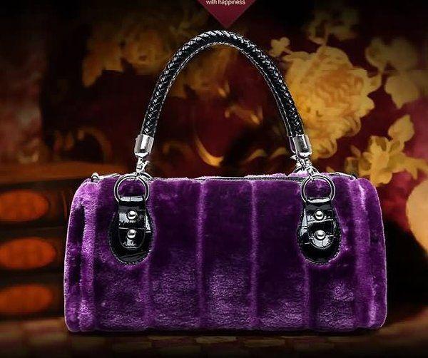 b9f8e7ddedf Free shipping beautiful, fur purple purse for women made of faux rabbit  fur. Very