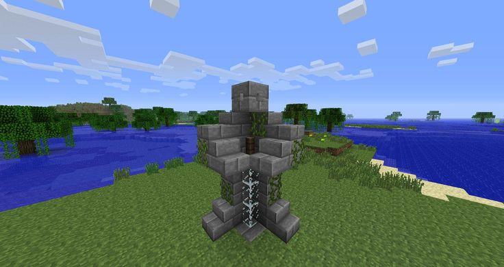 Minecraft block statue.
