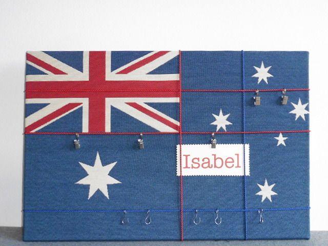 Kinderzimmerdekoration - Pinnwand australische Flagge, Memoboard - ein Designerstück von Liebchen-HausArt bei DaWanda