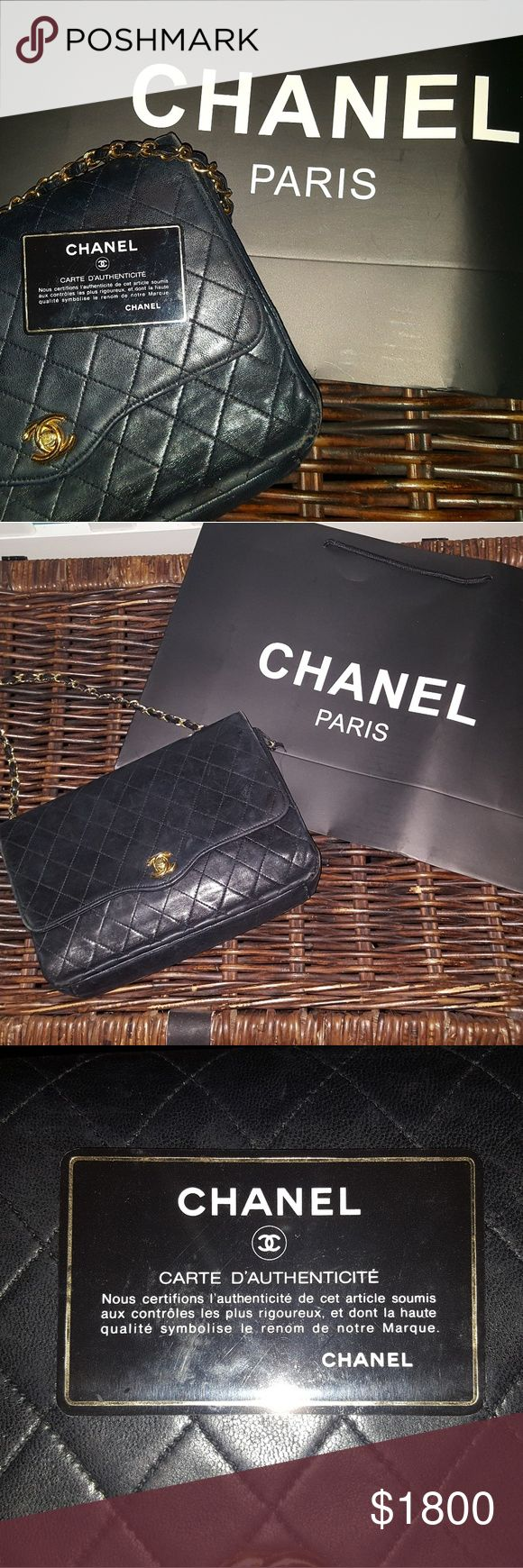 100% authentic black quilted Chanel bag Posh will authenticate! This stunning classic comes with authentication card and shopping bag. Gently loved- photos show wear, specifically on bottom edges. Measurements are 10x7 inches. Open to trades for similar black Chanel bags, specifically ones with double straps :) CHANEL Bags Shoulder Bags