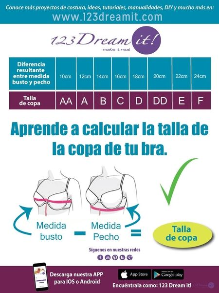 Conoce la medida adecuada para la copa de tu bra, aquí una fórmula para que sepas tu talla.