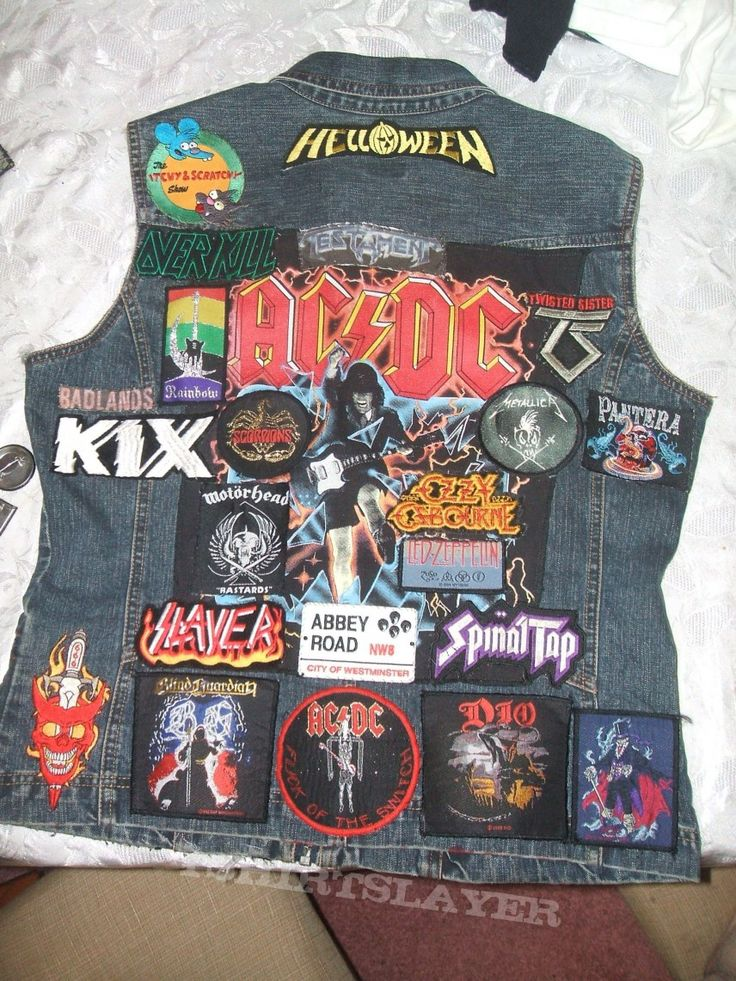 My hard rock/heavy metal vest - the back (it's always a work in progress)