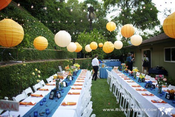 TablesDecor Wedding, Outdoor Wedding, Wedding Receptions, Backyards Wedding, Paper Lanterns, Wedding Ideas, Gardens Wedding Decor, Long Tables, Garden Weddings
