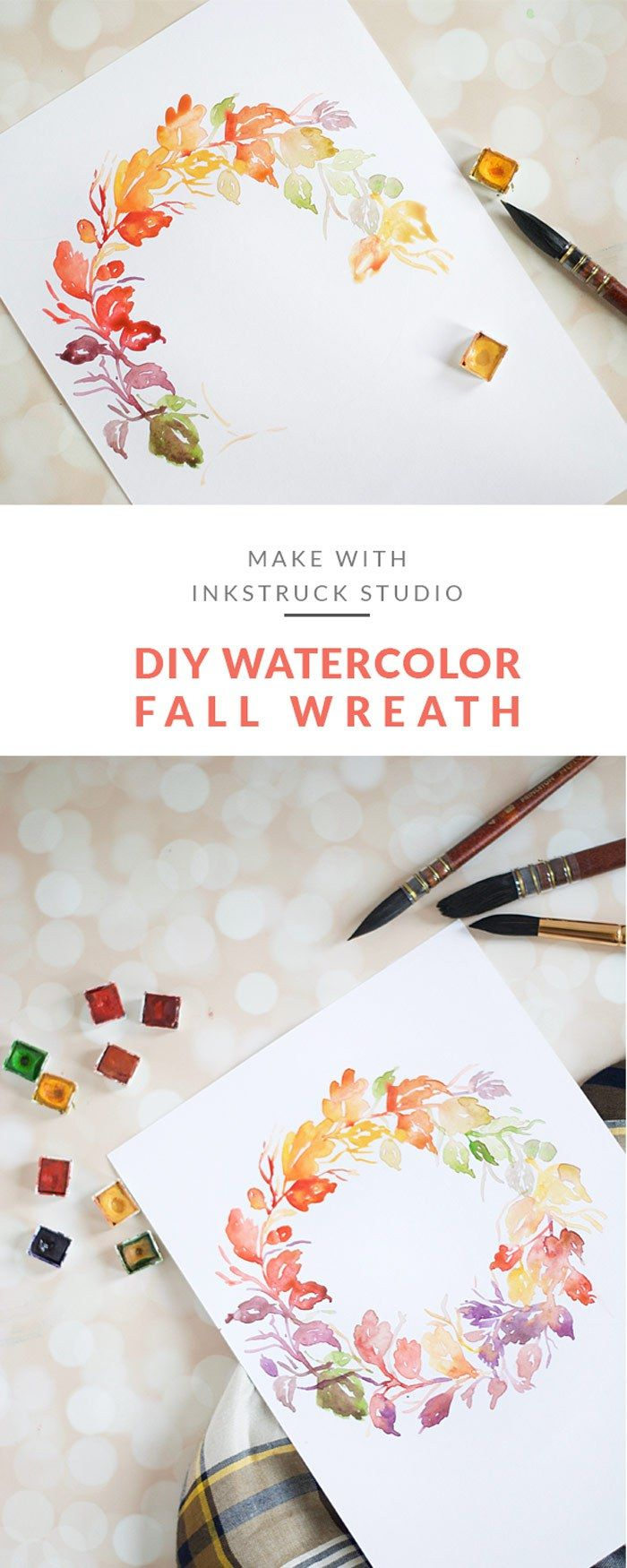 DIY watercolor fall wreath. Click on to learn how to paint them | great tutorial from Inkstruck Studio for decor or a wedding