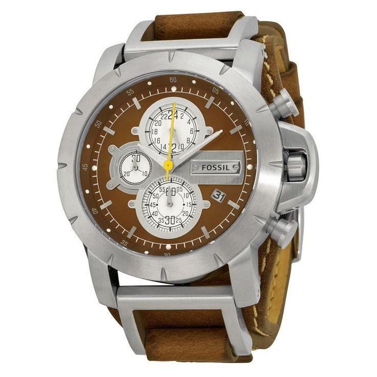 Fossil Chronograph Brown Leather Strap Mens Watch JR1157  #marshallsworld #discounts #Marshall #phillips #DomNetta