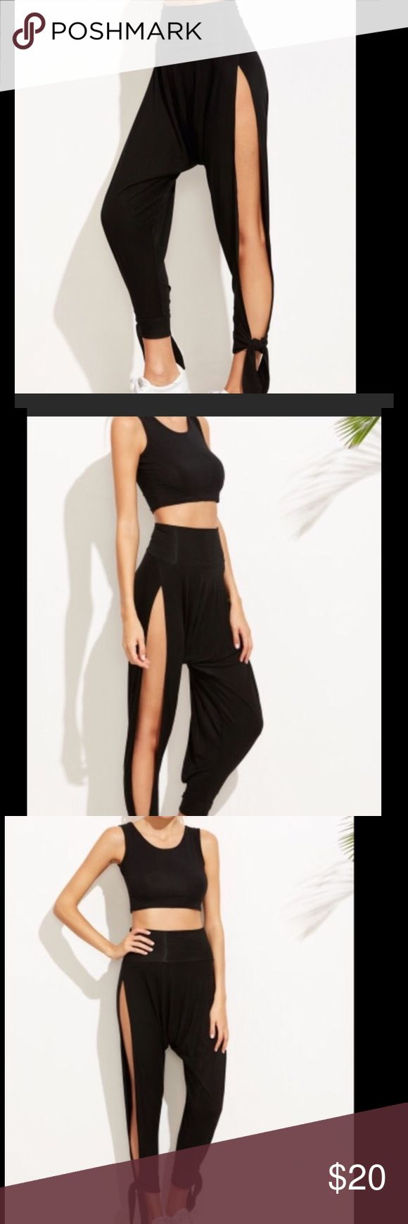 S-M-L Sexy Side Split Harlem Pants A wide waist and Elastic .  Made of Rayon material. Pants