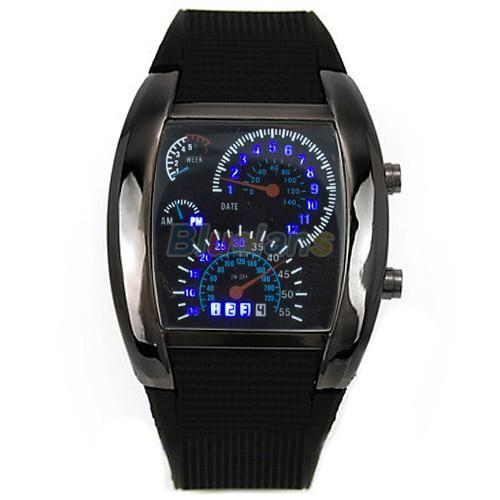 Unique Modern Mens Meter Dial LED Backlit Watch