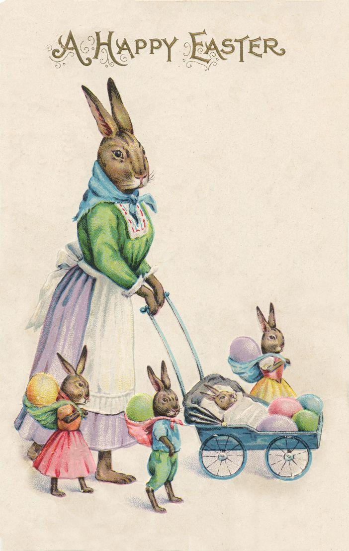 Открытки, открытки с пасхальными кроликами