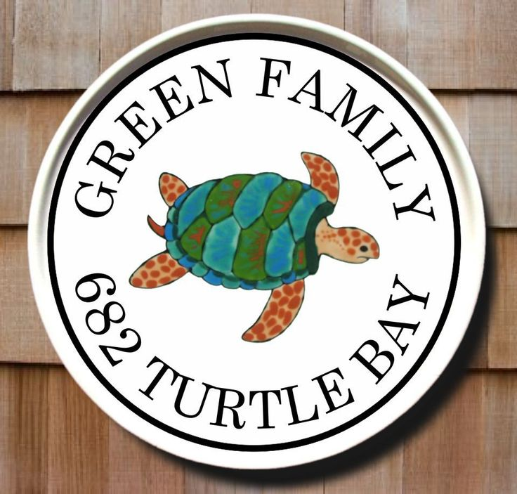 Sea Turtle Round Address Sign. Address SignsAddress PlaqueHouse ...  sc 1 st  Pinterest & 59 best Our Hand Painted Address Plaques Personalized Ceramic Home ...