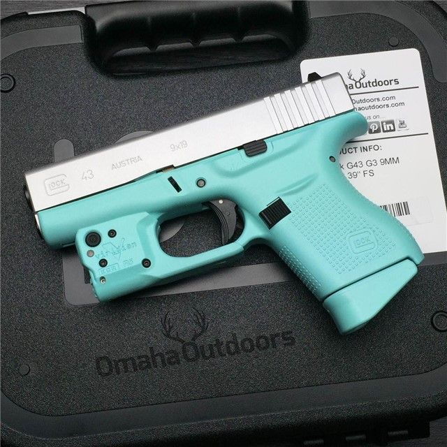 Glock 43 Tiffany Blue 9mm 6 RDS 3.39″ w/ Viridian Reactor 5 Green Laser Handgun - Omaha Outdoors