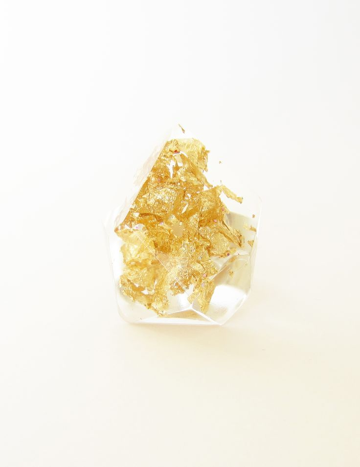 GOLD LEAF diamond statement resin RING and Sterling silver 925. Audacious handmade resin diamond ring with gold leaf and and precious sterling silver 925. Chunky statement clear Luxury ring for bling style. Precious jewelry for an BLING & LUXURY outfit.