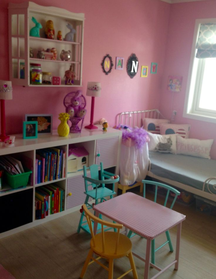 Girls bedroom. Colorful wall and DIY painted furniture